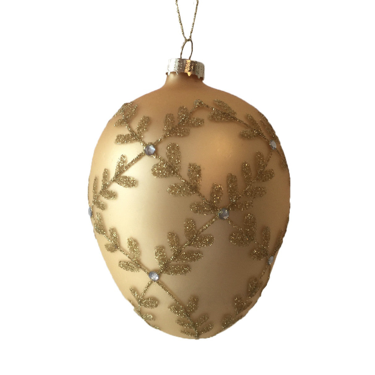 Gold Glass Egg with Beaded Laurel Leaf Pattern