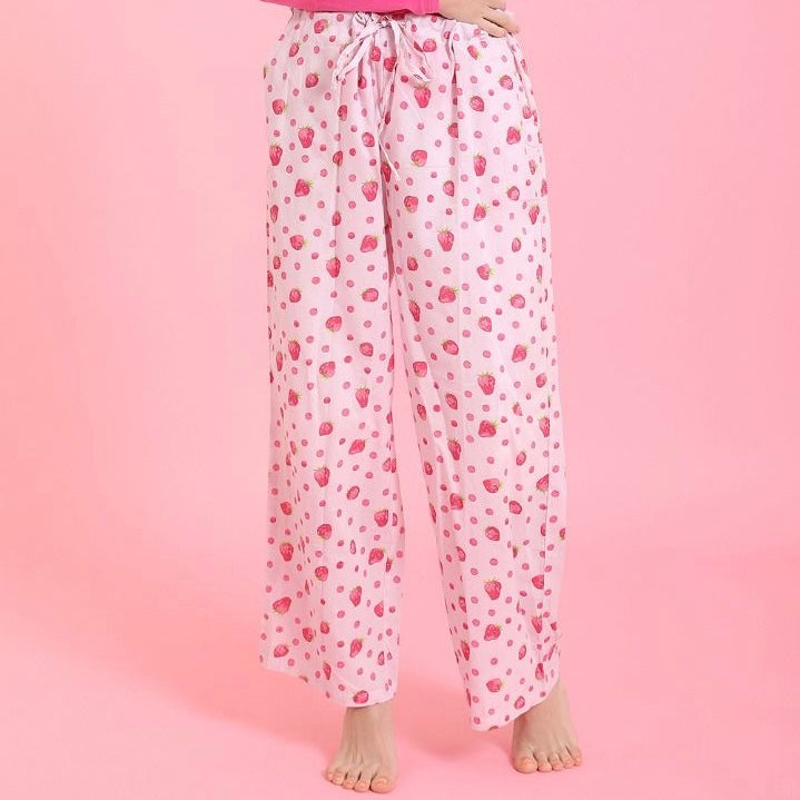 """Strawberry"" Pink Cotton Pyjama Pant in Bag - Putti Fine Fashions"