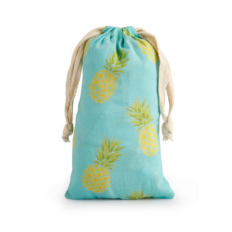 """Mahogany Pineapple"" Turquoise Pyjama Pant in Bag  