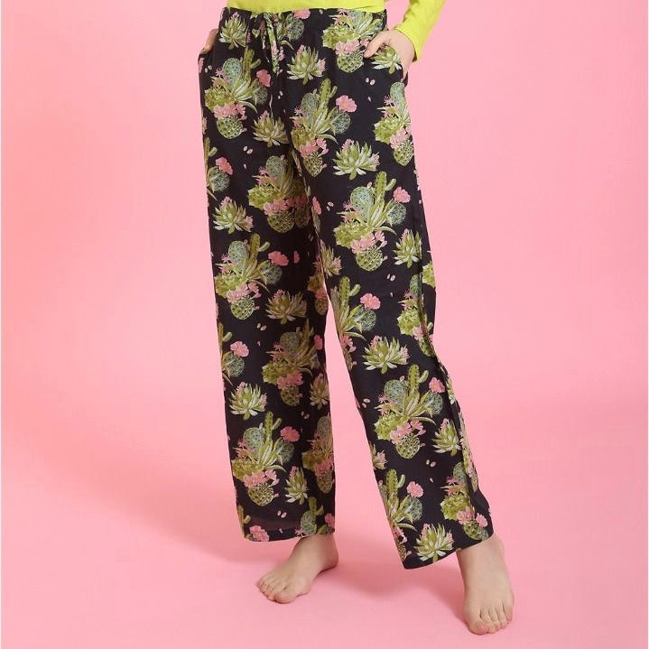 "Mahogany ""Cactus"" Black Pyjama Pant in Bag 