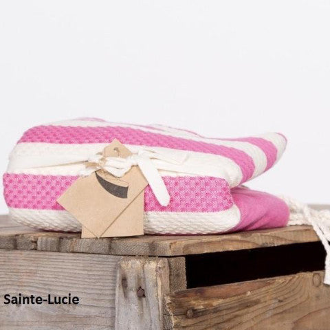 Wide Stripe Fouta Towel -  Hot Pink & White, FN-Famille Nomade, Putti Fine Furnishings