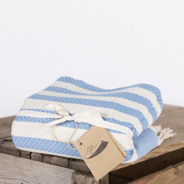 Wide Stripe Fouta Towel -  Pale Blue & White, FN-Famille Nomade, Putti Fine Furnishings