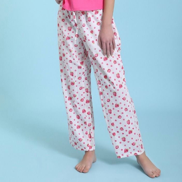 "Mahogany ""Strawberry"" White Pyjama Pant in Bag"