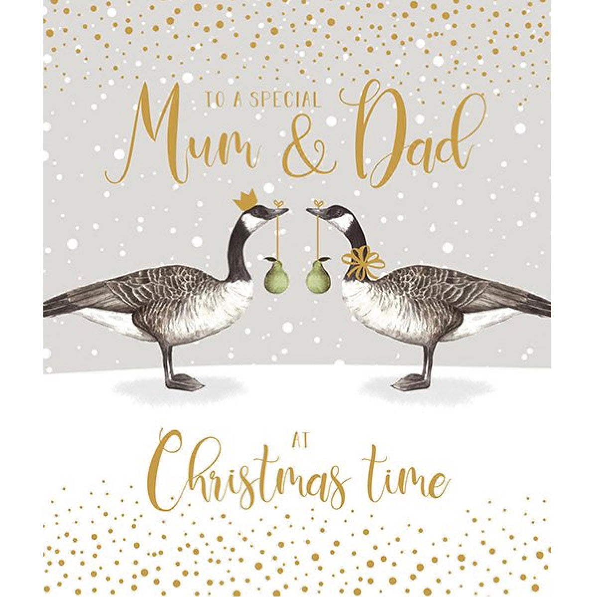 """To a special Mum & Dad at Christmas time"" Geese Greeting Card"