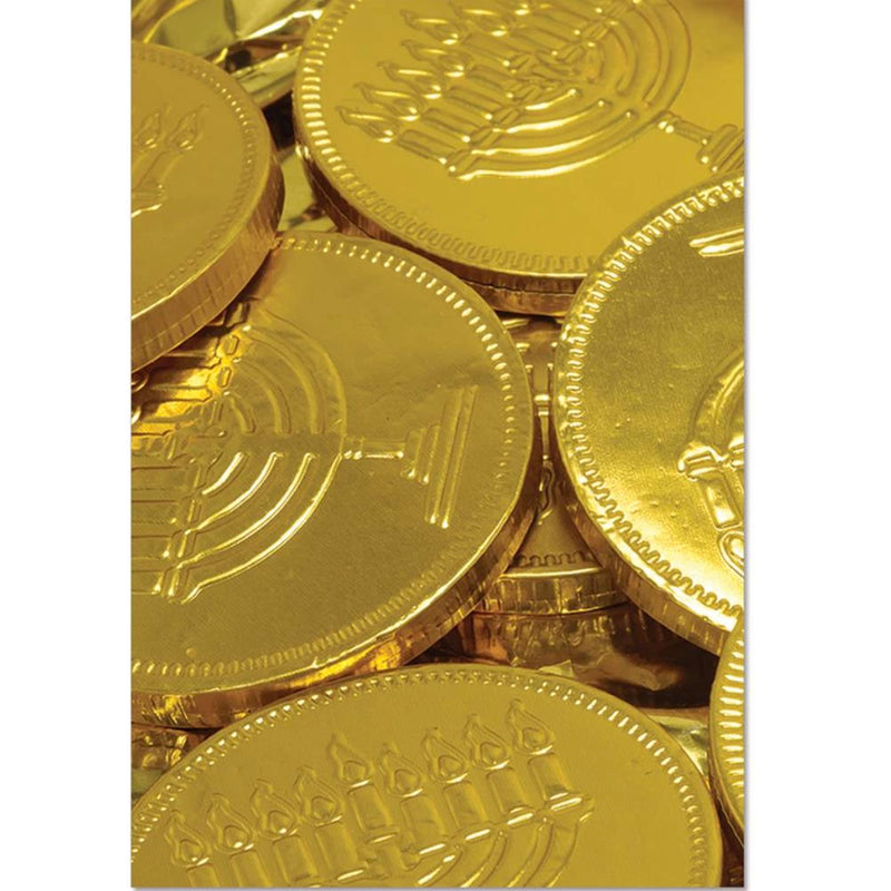 Gold Coins Hanukkah Card