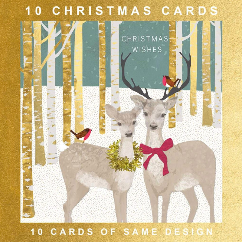 "Hammond Gower Deer in Woods ""Christmas Wishes"" Christmas Boxed Cards 