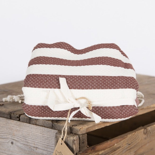Wide Stripe Fouta Towel -  Brown & White, FN-Famille Nomade, Putti Fine Furnishings