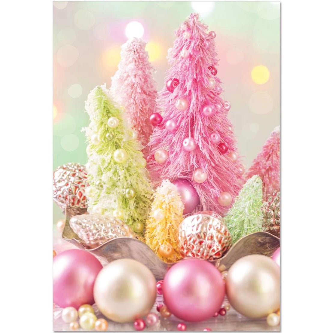 Pink & Green Decorations Christmas Card