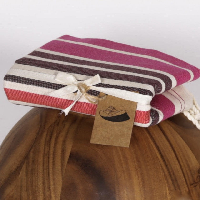 Flat Weave Stripe Fouta Towel - Pink & Red Stripe, FN-Famille Nomade, Putti Fine Furnishings