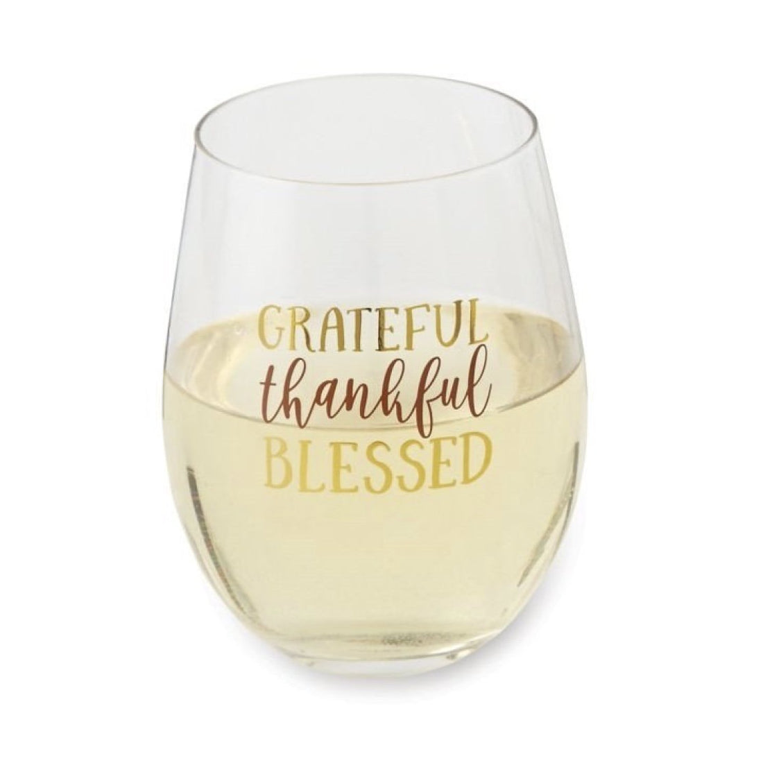 """Grateful Thankful Blessed"" Stemless Wine Glass 