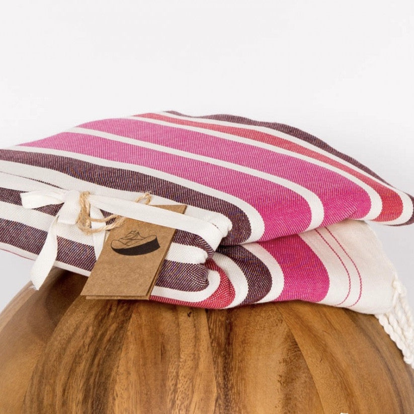 X Large Flat Weave Stripe Fouta Towel - Pink & Red, FN-Famille Nomade, Putti Fine Furnishings