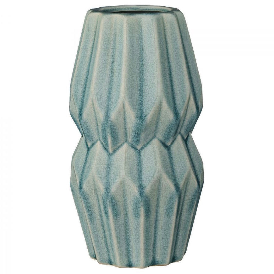 Bloomingville Sky Blue Ceramic Fluted Vase