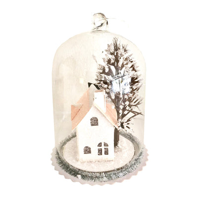 Glass Cloche with House LED Ornaments