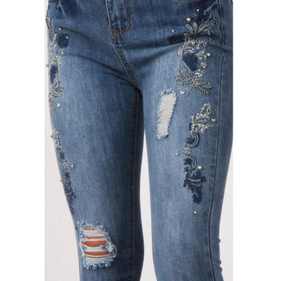 Ripped Blue Floral Embroidery Jewel Detail Skinny Jeans