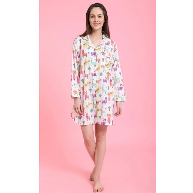 "Mahogany ""Party Llamas"" - Nightshirt  - Putti Fine Fashions"