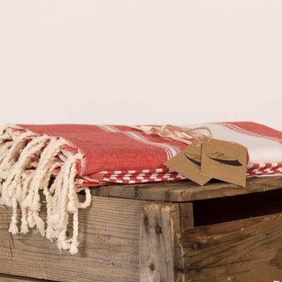 X Large Flat Weave Stripe Fouta Towel - Red & White, FN-Famille Nomade, Putti Fine Furnishings
