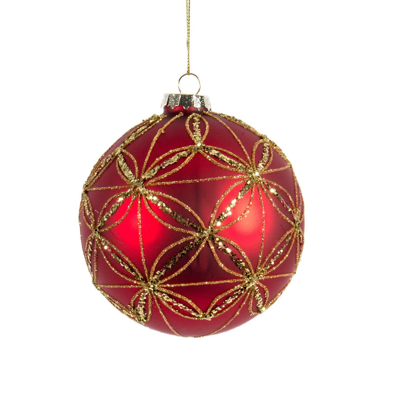 Red with Gold Glitter Floral Glass Ornament | Putti Christmas Celebrations