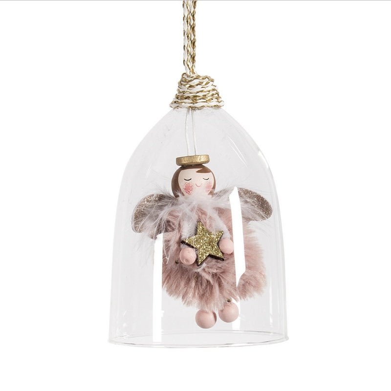 Pink Angel in Clear Glass Ornament | Putti Christmas Canada