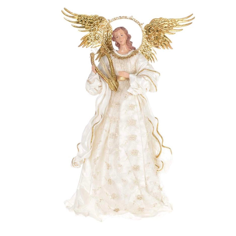 Standing Ivory Lace Angel with Lyre | Putti Christmas Celebrations