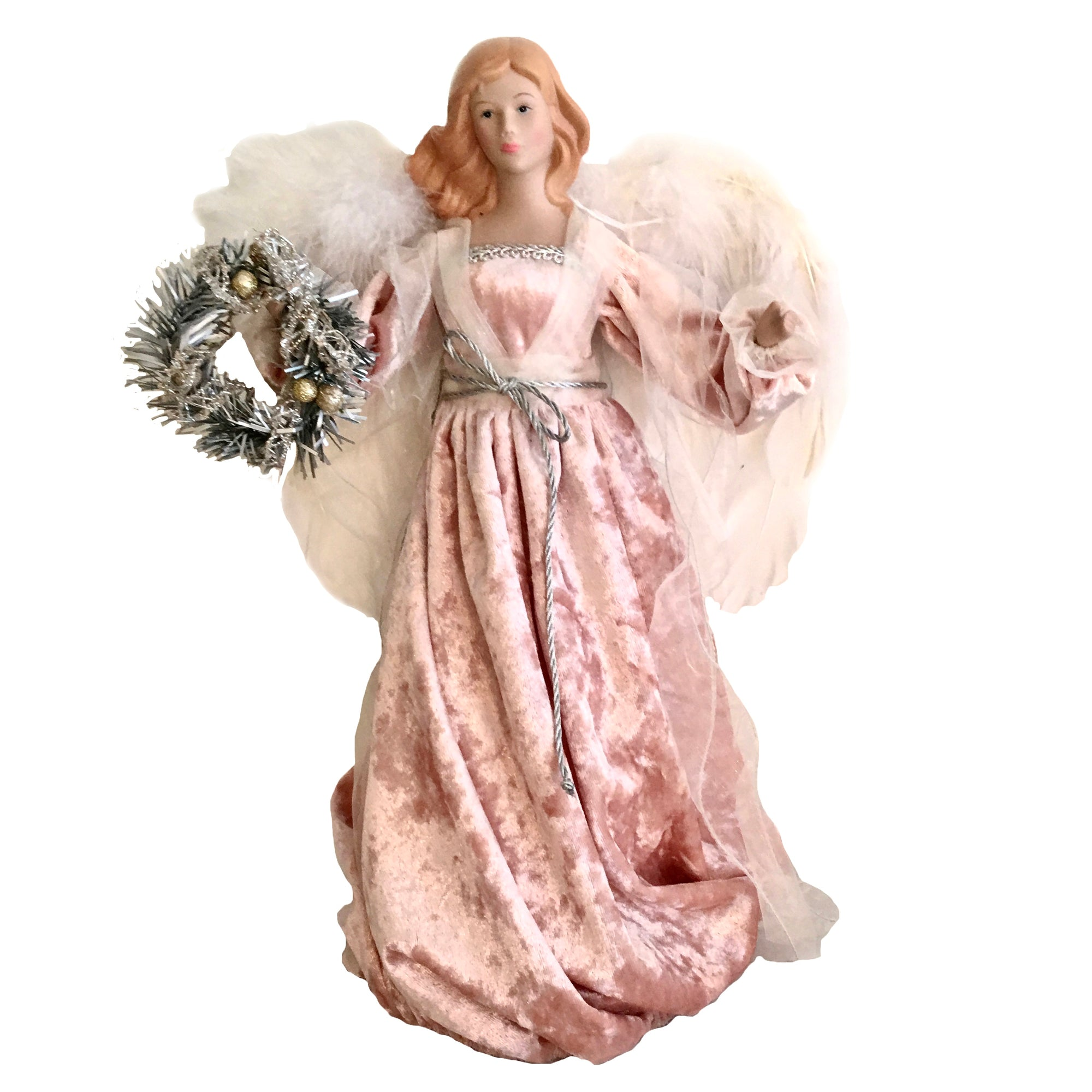Pink Angel with Wreath Christmas Tree Topper | Putti Christmas Celebrations