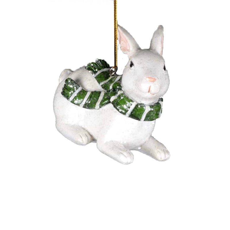 Snow Bunny with Green Scarf Ornament