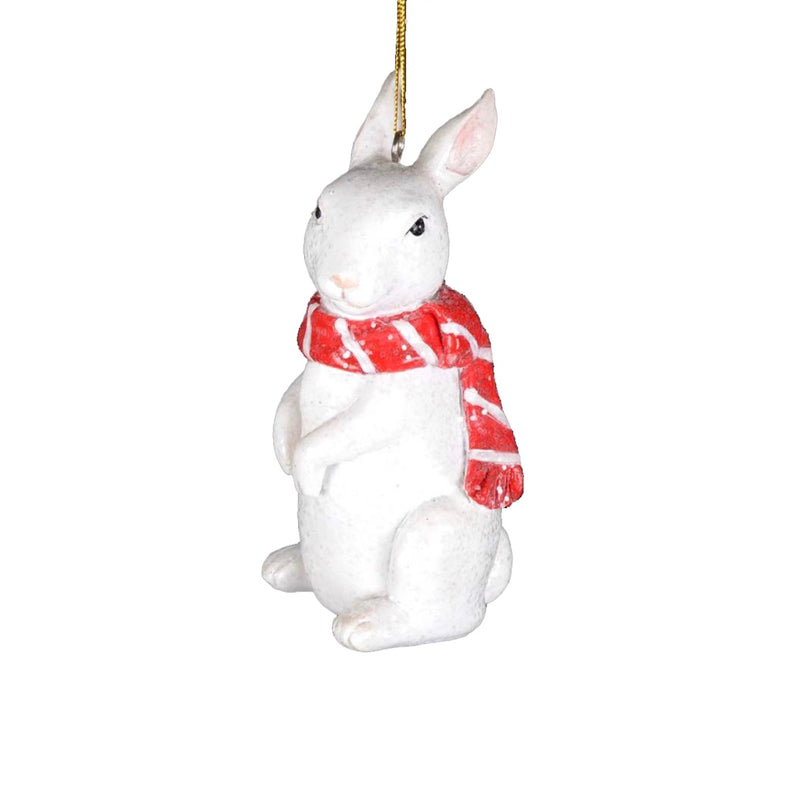 Snow Bunny with Red Scarf Ornament | Putti Christmas Decorations