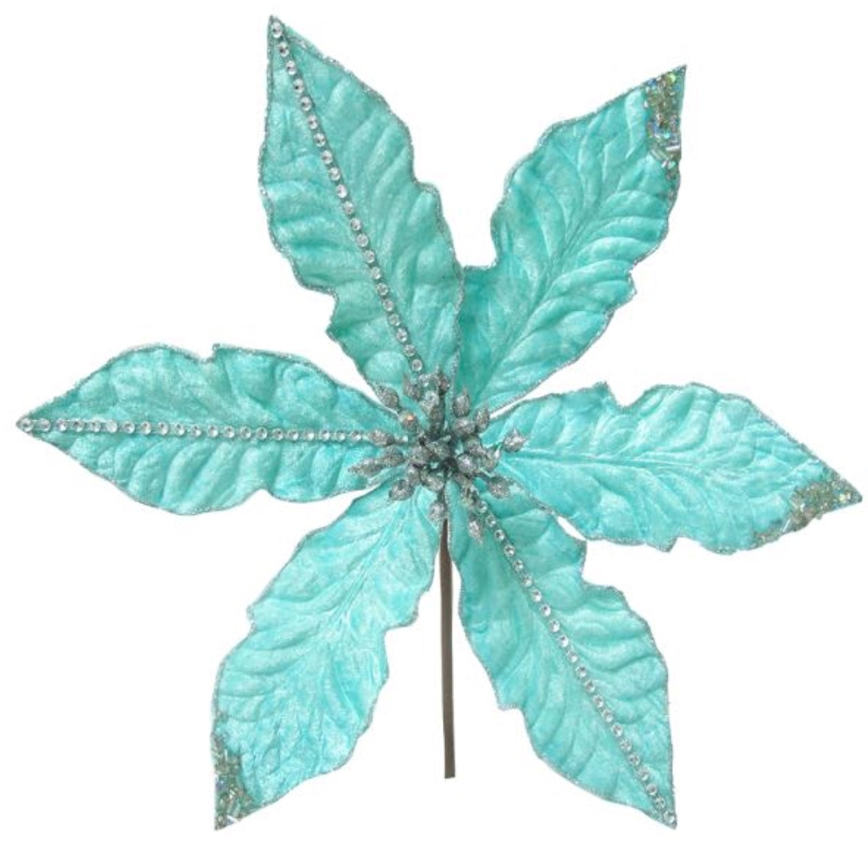 Kurt Adler Tiffany Blue with Rhinestones Poinsettia Pick | Putti Christmas
