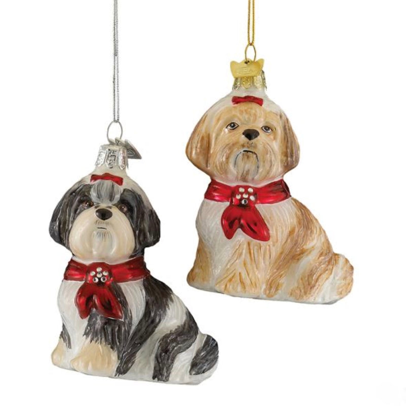 Kurt Adler Shih Tzu with Red Bow Glass Ornament
