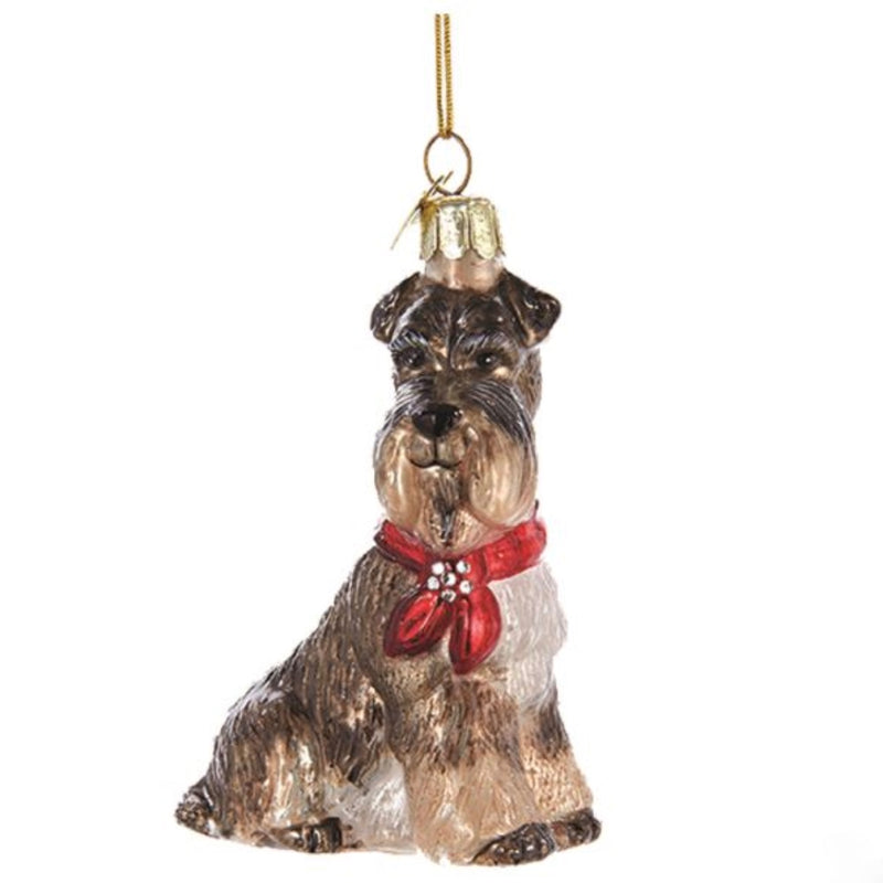Kurt Adler Schnauzer with Red Bow Glass Dog Christmas Ornament | Putti Christmas