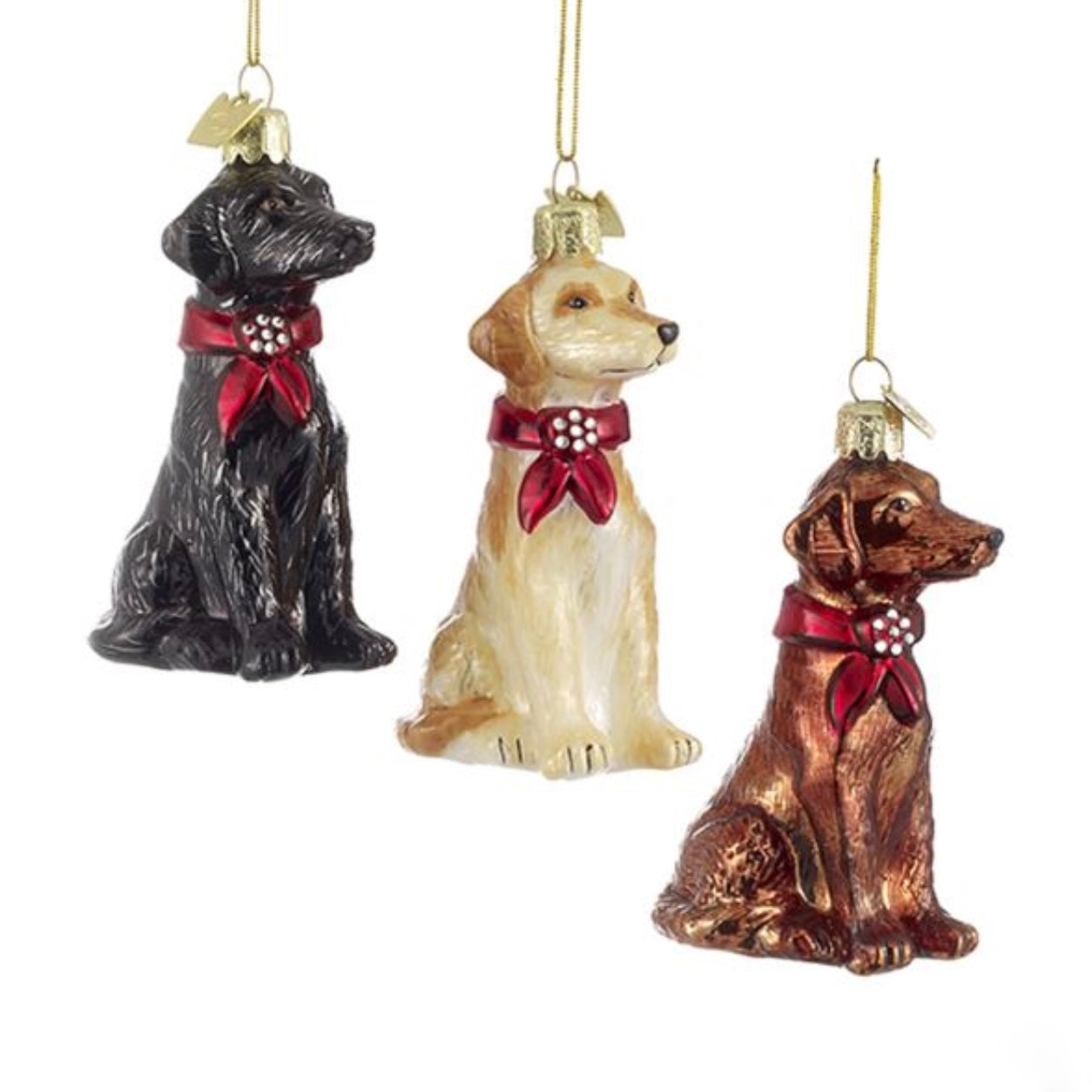 Kurt Adler Labrador Retriever with Red Bow Glass Dog Christmas  Ornament | Putti Christmas