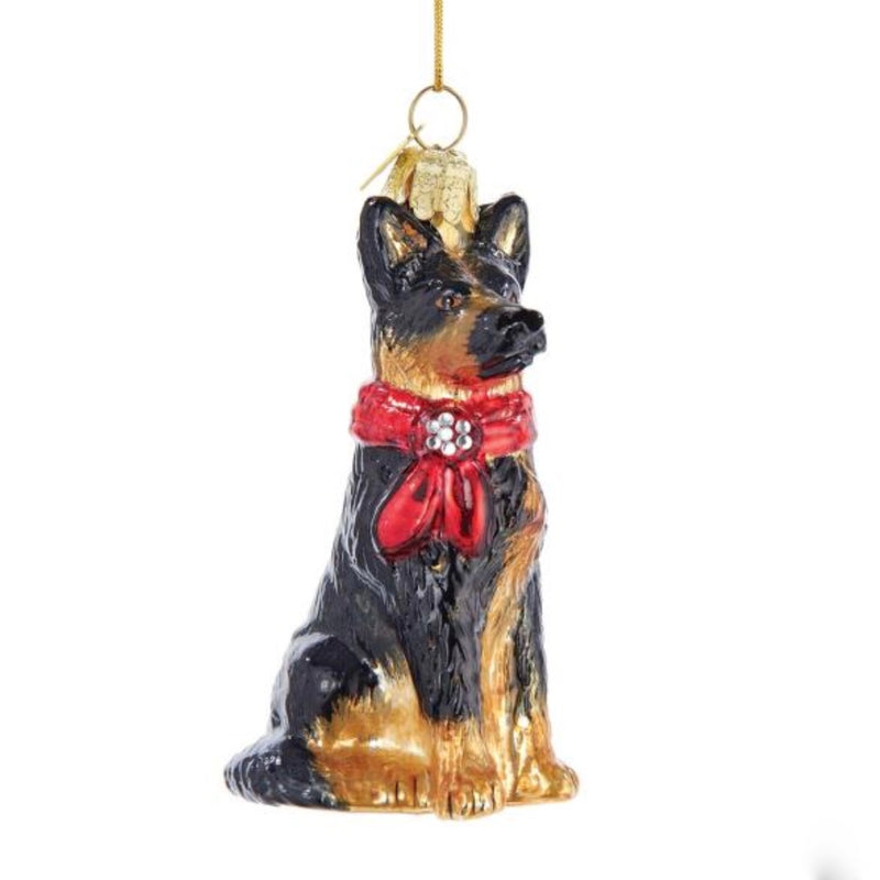 Kurt Adler German Shepherd with Red Bow Glass Ornament | Putti Christmas