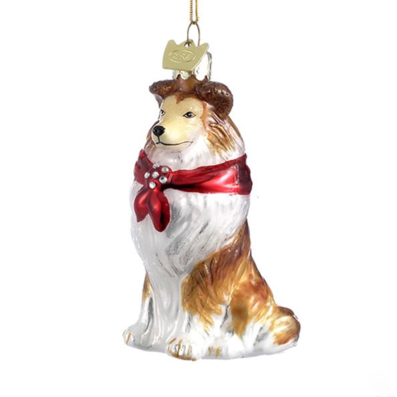 Kurt Adler Shetland Sheepdog with Red Bow Glass Dog Christmas Ornament | Putti Christmas