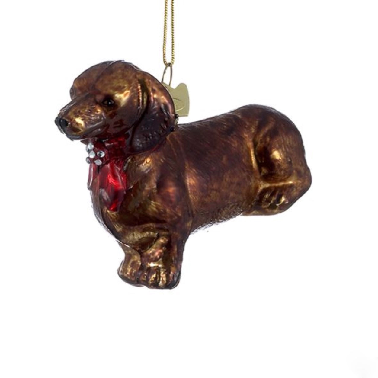 Kurt Adler Dachshund with Red Bow Glass Ornament