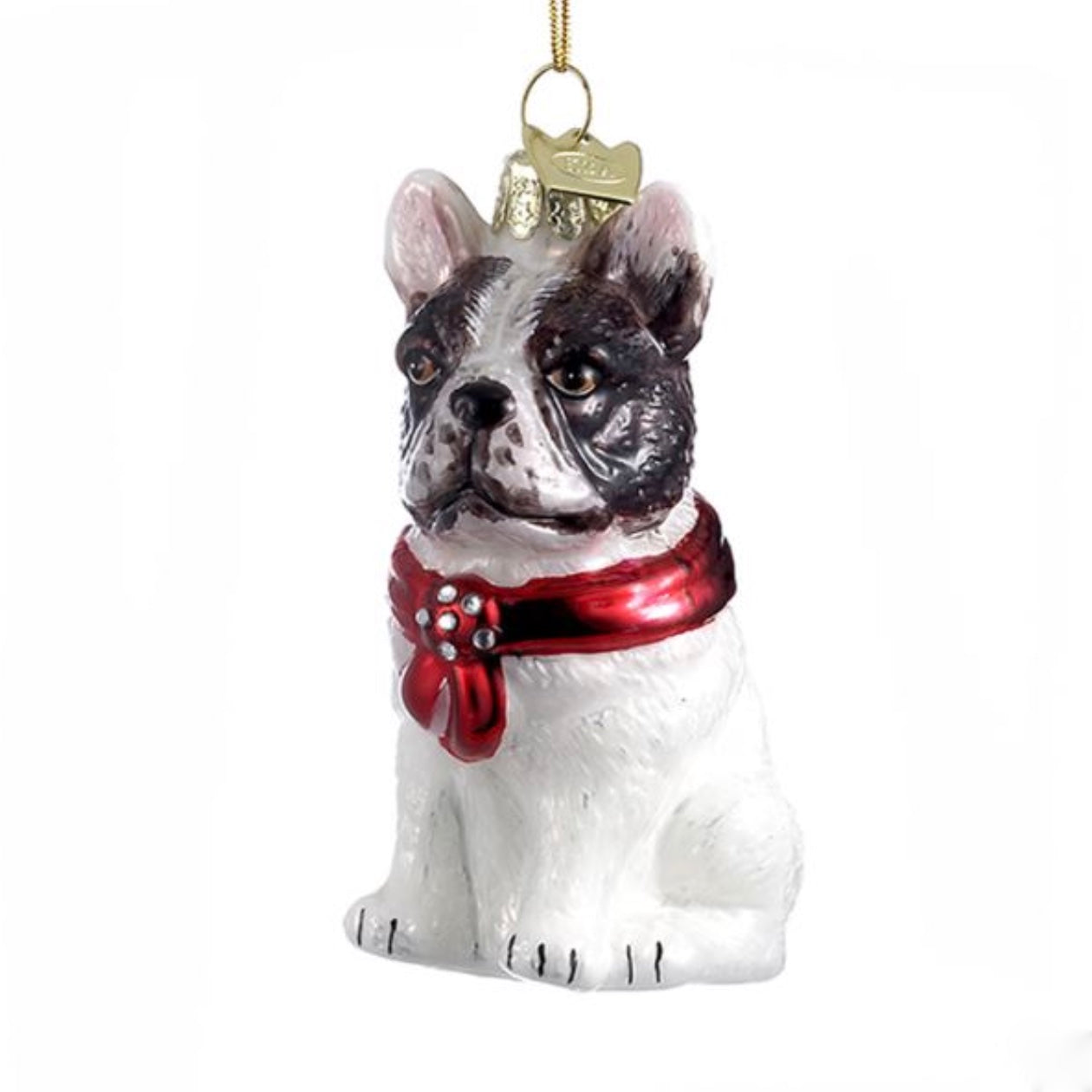 Kurt Adler French Bulldog with Red Bow Glass Ornament