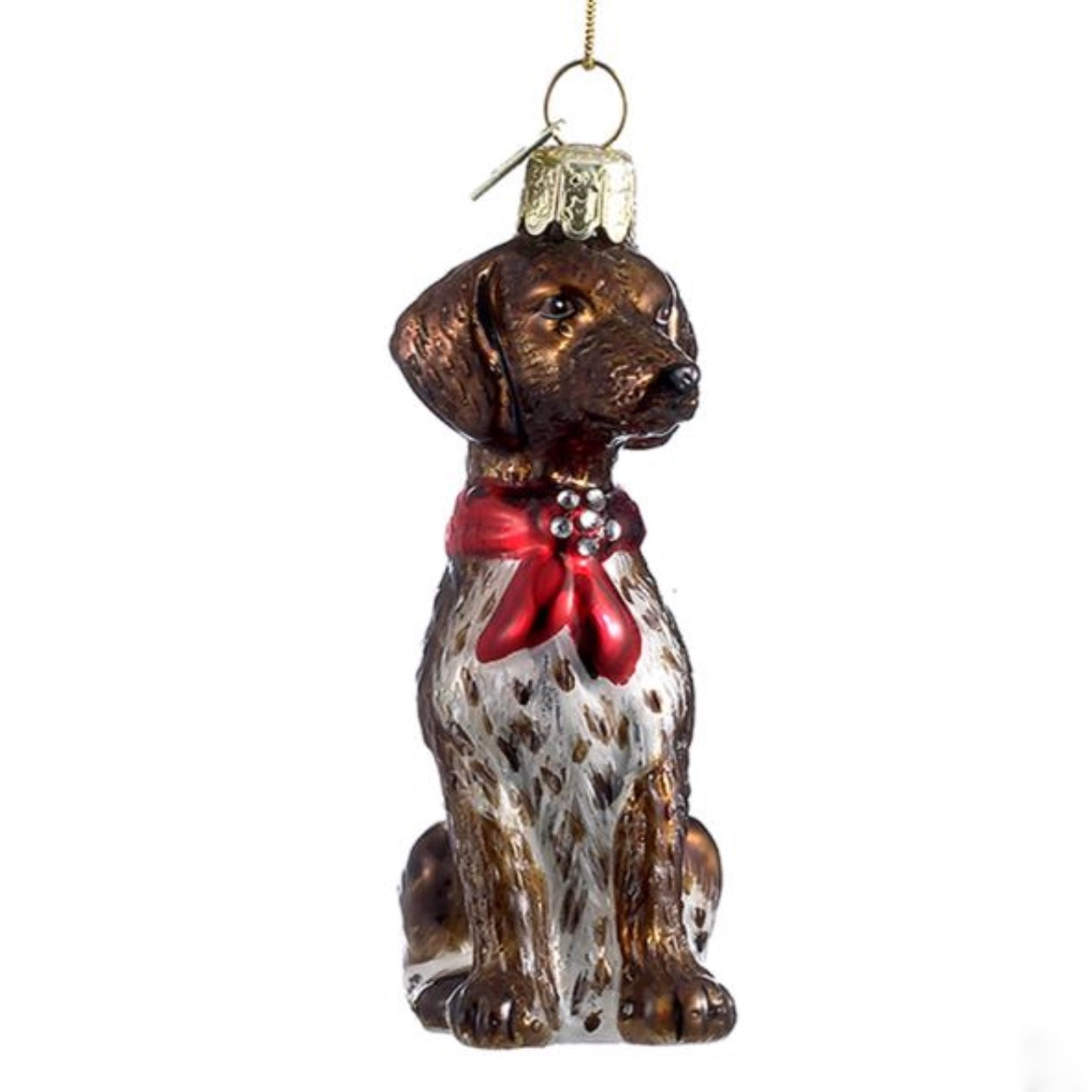 Kurt Adler German Short Hair Pointer with Red Bow Glass Dog Christmas Ornament | Putti Christmas