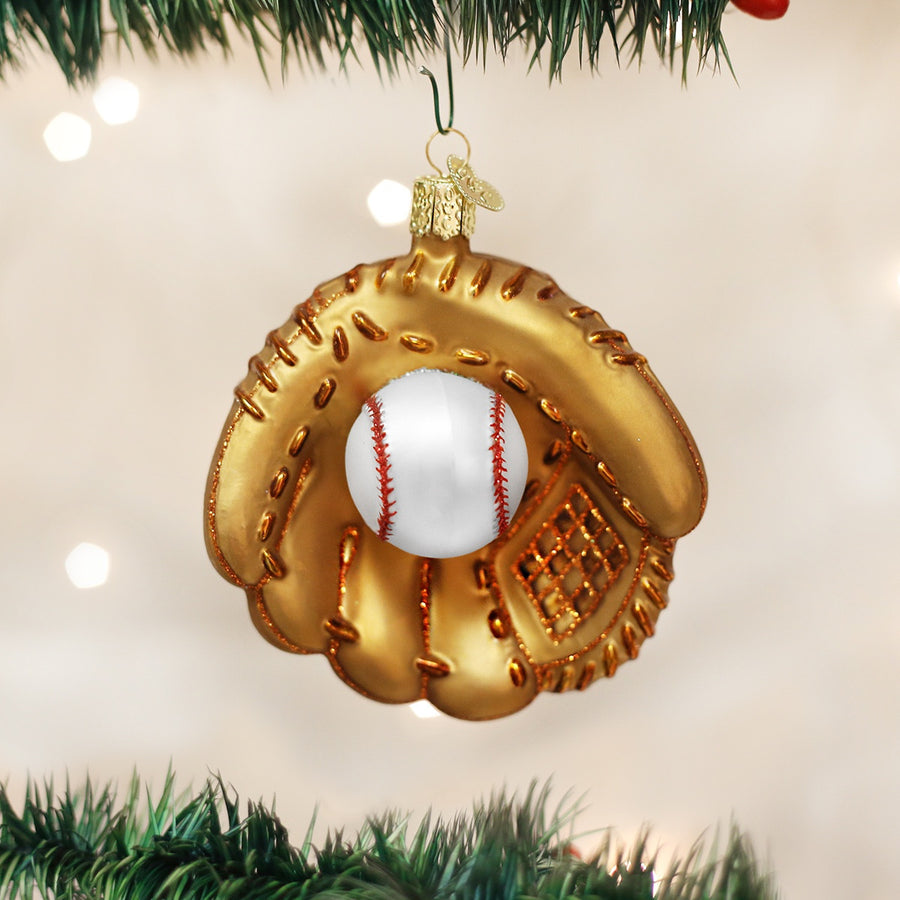 Old World Christmas Baseball Mitt Glass Ornament, OWC-Old World Christmas, Putti Fine Furnishings