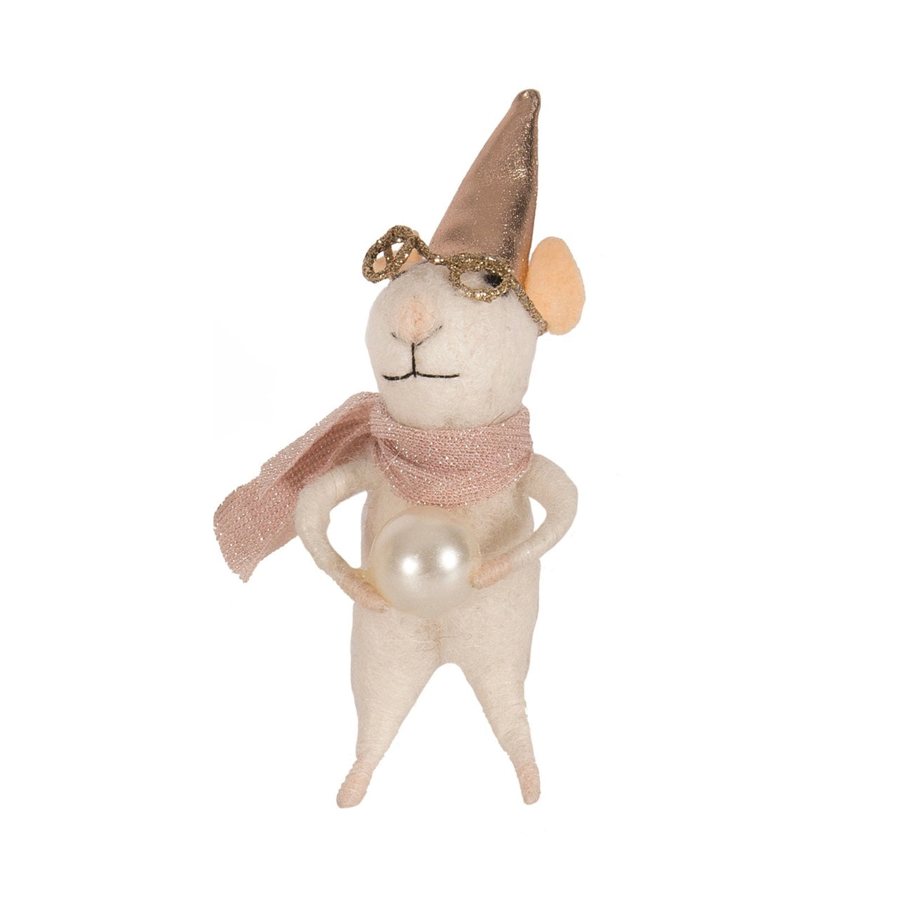 """Party Pearl"" Felted Mouse Ornament