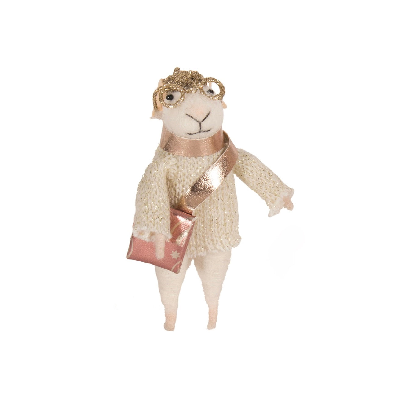 """Satchel Sally"" Felted Mouse Ornament 