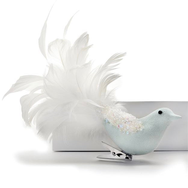 Light Blue Clip on Feather Bird Ornament | Putti Christmas Celebrations