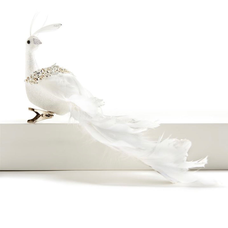 White Peacock Clip on Feather Bird Ornament | Putti Christmas Celebrations