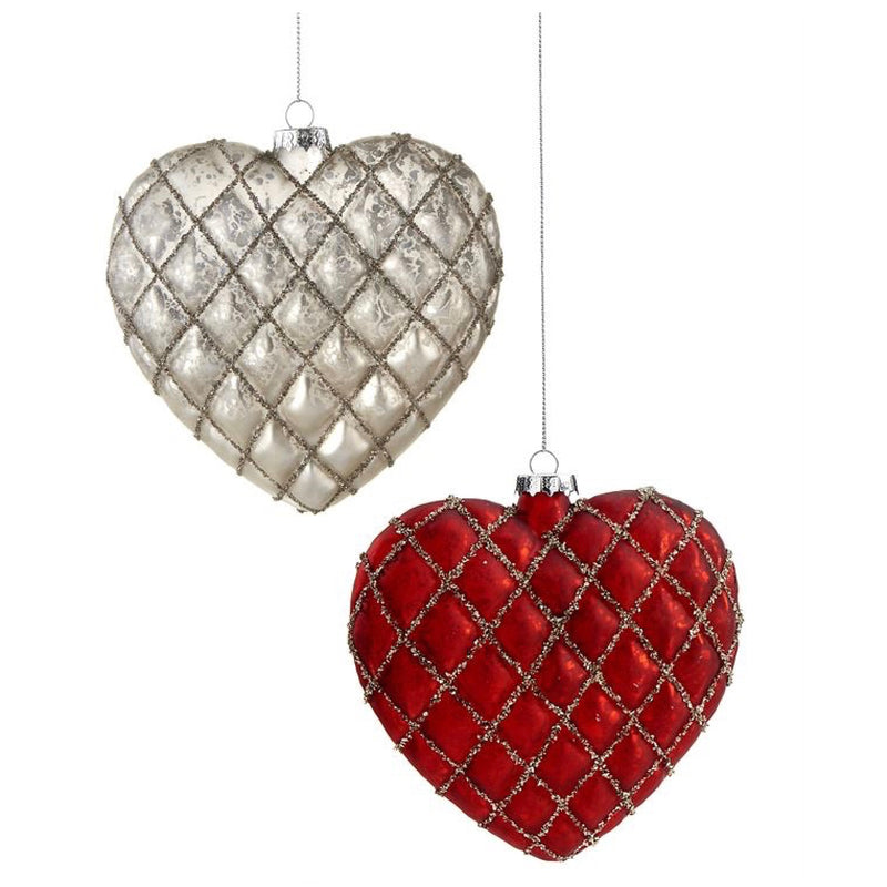 Red Glass Heart Ornament | Putti Christmas Celebrations