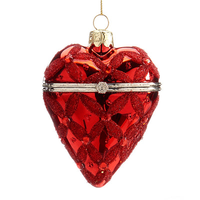Red Glass Heart Trinket Box Ornament | Putti Christmas Celebrations