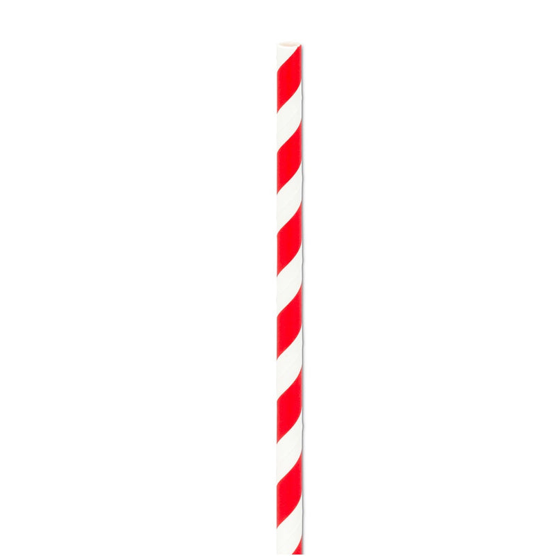 Straws with Red and White Stripes - Box of 100