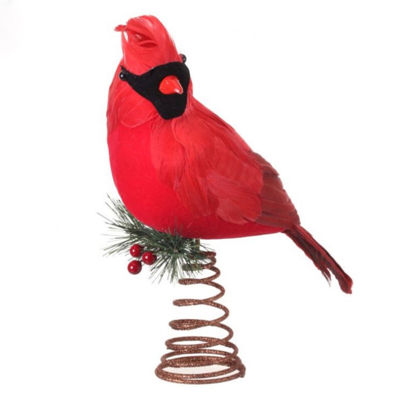 Red Cardinal Feather Bird Christmas Tree topper