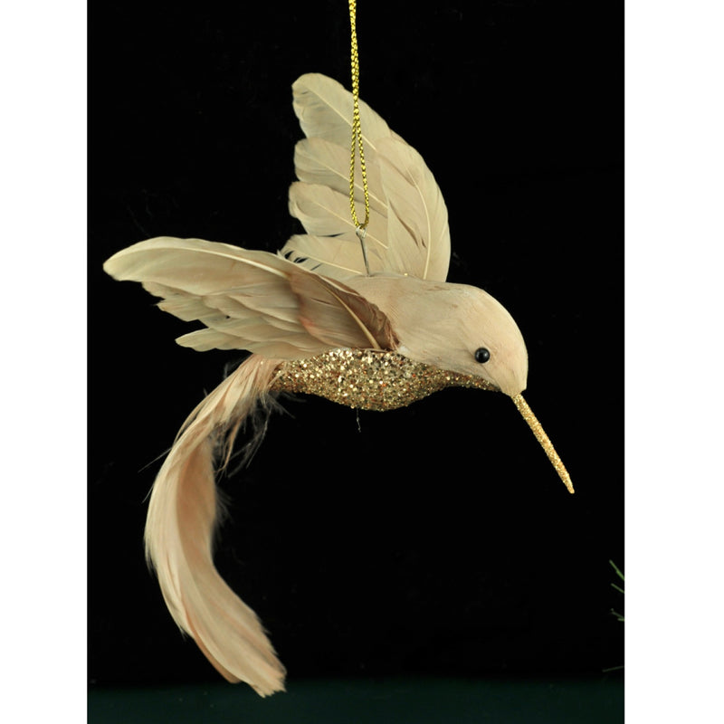 Gold Feathered Humming Bird with Clip | Putti Christmas