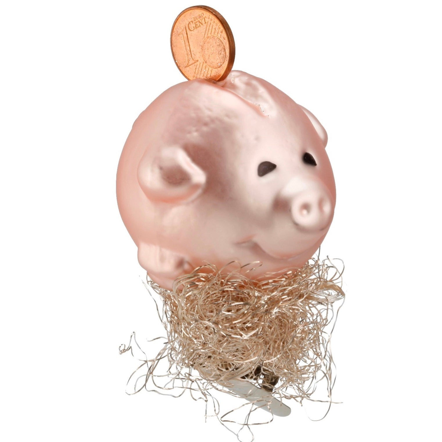 Inge Glass German Savings Pig Glass Ornament | Putti Christmas Canada