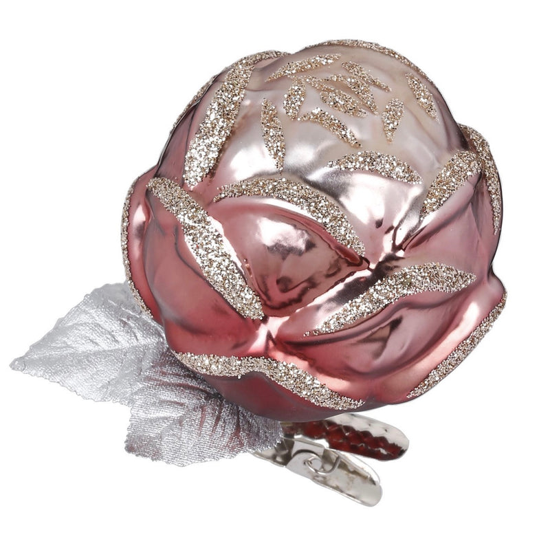 Inge Glas Pink Rose Glass Ornament | Putti Christmas Canada