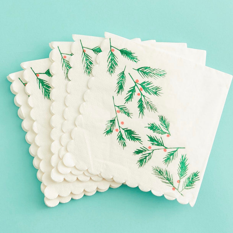 Meri Meri Festive Leaves & Berries Paper Napkins Small | Putti Christmas