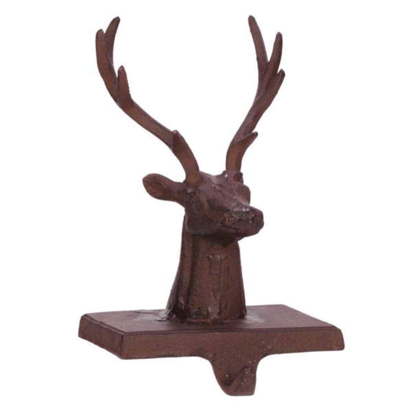 Red Cast Iron Deer Stocking Holder