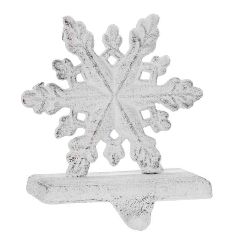 White Cast Iron Snowflake Stocking Holder